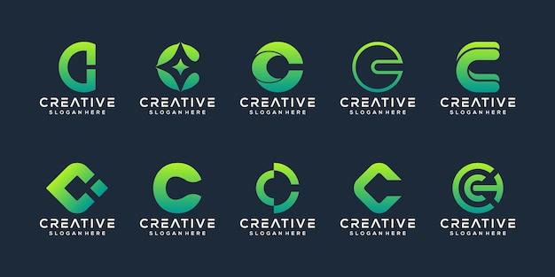 Kolekcja inicjały c logo szablon