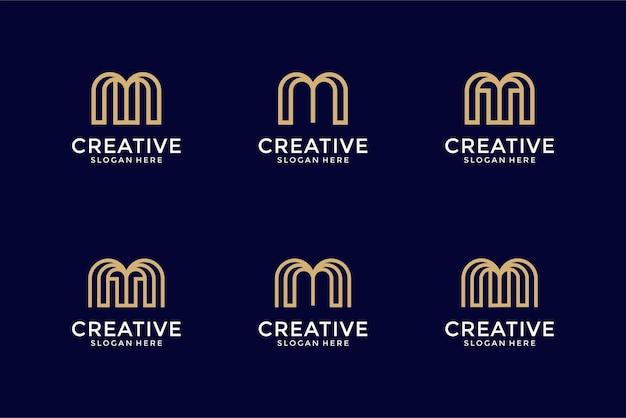 Kolekcja inicjały m szablon projektu logo