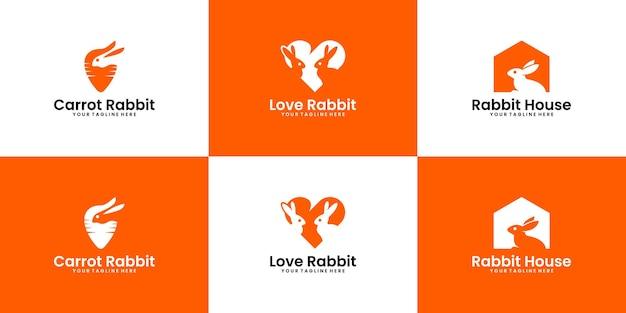 Kolekcja inspiracji do projektowania logo królika miłości, domu królika i sklepu zoologicznego