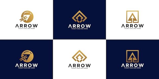 Kolekcja inspiracji do projektowania logo strzałek, inwestycje biznesowe