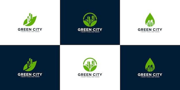 Kolekcja inspiracji do projektowania logo zielonego miasta