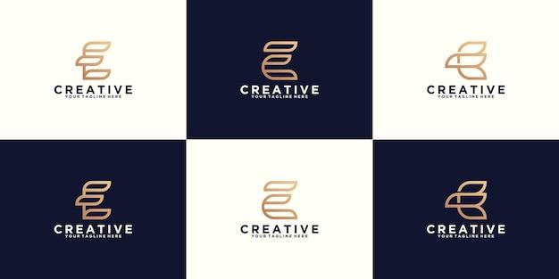 Kolekcja inspirujących monogramów alfabetu litery e logo w stylu sztuki linii i złotym kolorze