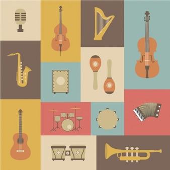 Kolekcja instrumenty muzyczne