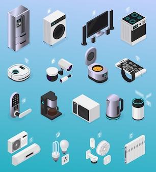Kolekcja inteligentnych domów zdalnie sterowanych urządzeń elektronicznych iot kolekcja ikon izometrycznych z ilustracją ekspresu do kawy w lodówce tv