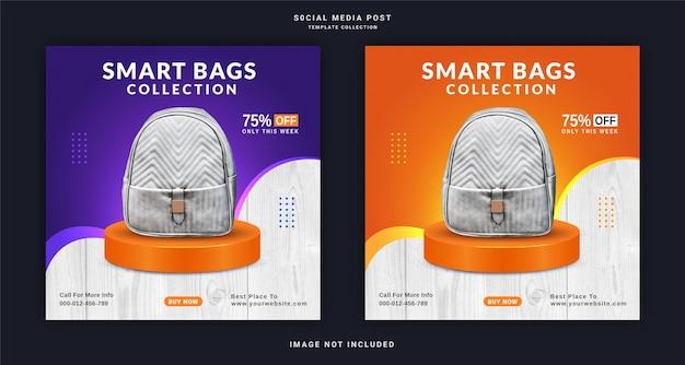 Kolekcja inteligentnych toreb cyfrowe torby reklama banerowa na instagram szablon postu w mediach społecznościowych