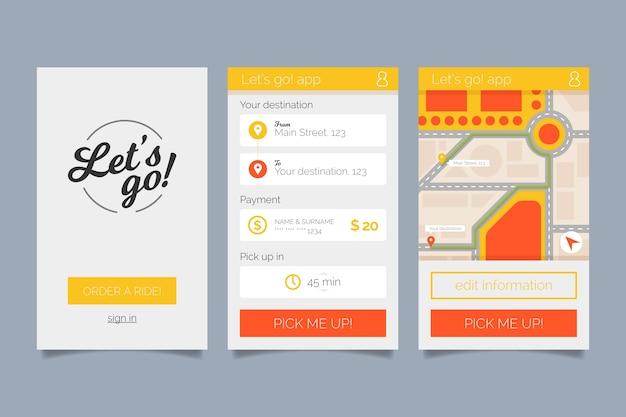 Kolekcja interfejsu aplikacji taksówek