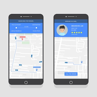 Kolekcja interfejsu aplikacji taxi na smartfonie