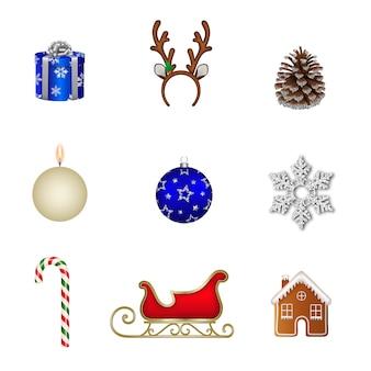 Kolekcja izolowanych elementów świątecznych