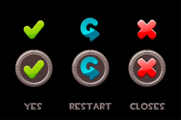 Kolekcja izolowanych tak, uruchom ponownie i zamyka przyciski i ikony