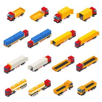 Kolekcja izometryczna ciężarówek przyczep