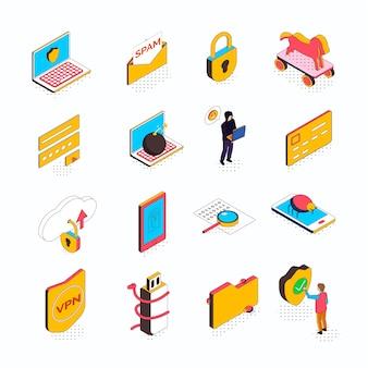 Kolekcja izometryczna cyberbezpieczeństwa szesnastu na białym tle ikon z koncepcyjnych piktogramów komputerowych inteligentnych urządzeń i ludzi