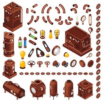 Kolekcja izometryczna elementów konstruktora sztuki steampunk inspirowana xix-wiecznymi maszynami parowymi