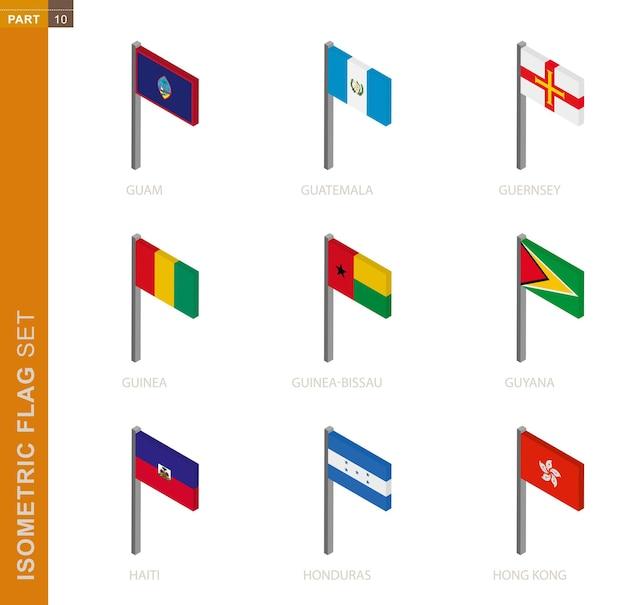 Kolekcja izometryczny flaga na białym tle