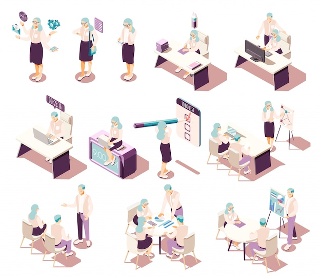 Kolekcja izometrycznych ikon efektywnego zarządzania z meblami z osobnymi postaciami ludzkimi i piktogramami koncepcyjnymi z elementami produktywności