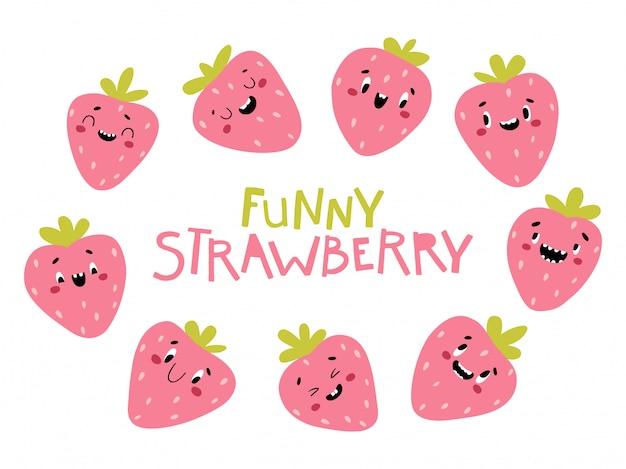 Kolekcja jagód truskawek. śmieszne postacie o szczęśliwych twarzach. ilustracja kreskówka w prostym ręcznie rysowane stylu skandynawskim. idealny do drukowania produktów dla dzieci
