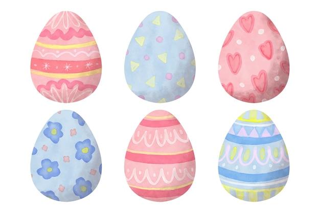 Kolekcja jajek wielkanocnych w stylu przypominającym akwarele