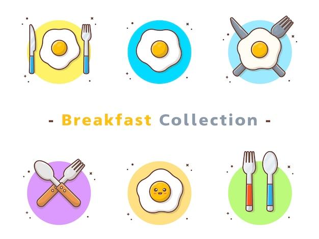 Kolekcja jajka sadzone na śniadanie