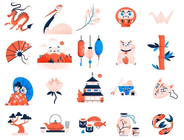 Kolekcja japońskich tradycyjnych symboli