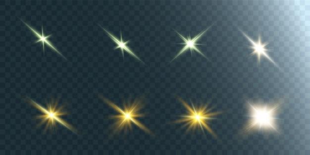Kolekcja Jasnych świecących świateł. Jasna Gwiazda. Przezroczyste świecące Słońce, Jasny Błysk. Premium Wektorów