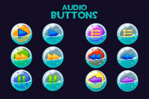Kolekcja jasnych wielokolorowych przycisków audio w bańkach mydlanych. zestaw przycisków do interfejsu odtwarzania muzyki.