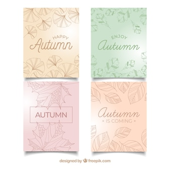 Kolekcja jesień kart z liści