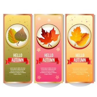 Kolekcja jesień kolorowy transparent z lasu liści