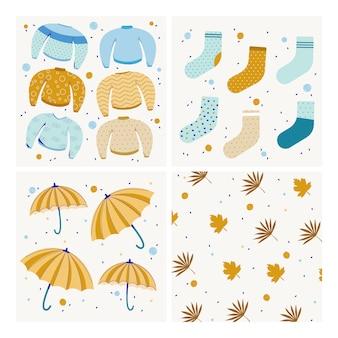 Kolekcja jesień nowoczesne tło. sweter, parasolka, skarpetki i liście. ilustracja wektorowa płaski.