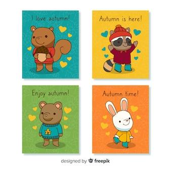 Kolekcja jesień ręcznie rysowane karty