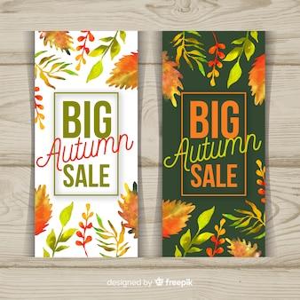 Kolekcja jesień sprzedaży sztandaru akwareli projekt
