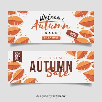 Kolekcja jesień sprzedaży sztandaru płaski projekt