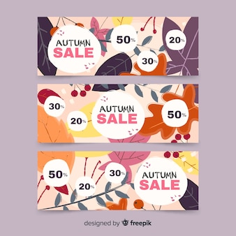 Kolekcja jesień sprzedaży sztandaru ręka rysujący projekt