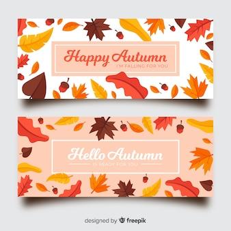 Kolekcja jesień sztandar styl płaski