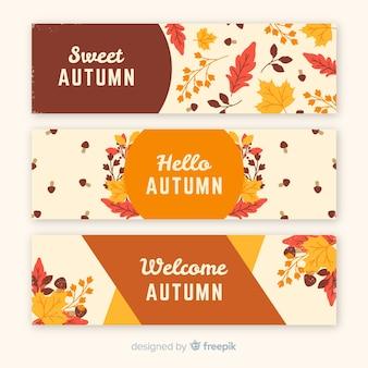 Kolekcja jesień sztandaru retro styl