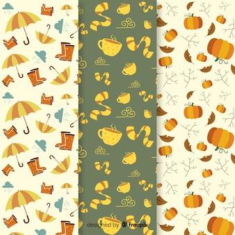 Kolekcja jesień wzór płaski z liśćmi
