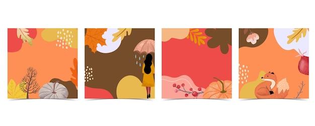 Kolekcja jesiennego tła z lisem, kobietą, ramą
