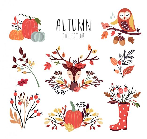 Kolekcja jesiennych aranżacji z sezonowymi bukietami i zwierzętami