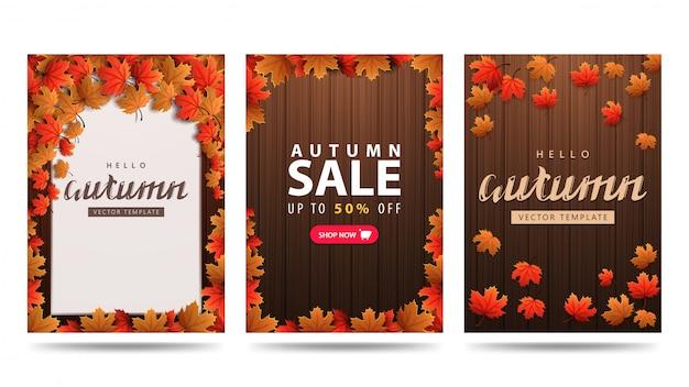Kolekcja jesiennych banerów z brązową drewnianą teksturą i liśćmi klonu. jesienne szablony pionowe