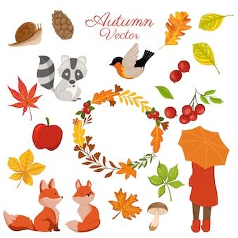 Kolekcja jesiennych elementów z ozdobnym wieńcem
