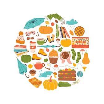 Kolekcja jesiennych elementów