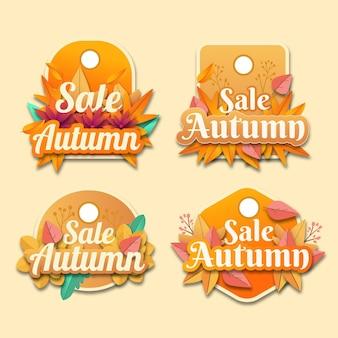 Kolekcja jesiennych etykiet w stylu płaskiego papieru