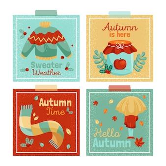 Kolekcja jesiennych kart płaska konstrukcja