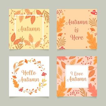 Kolekcja jesiennych kart płaska