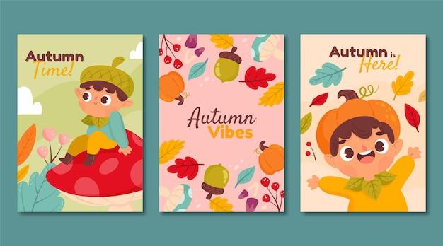 Kolekcja jesiennych kart z kreskówek