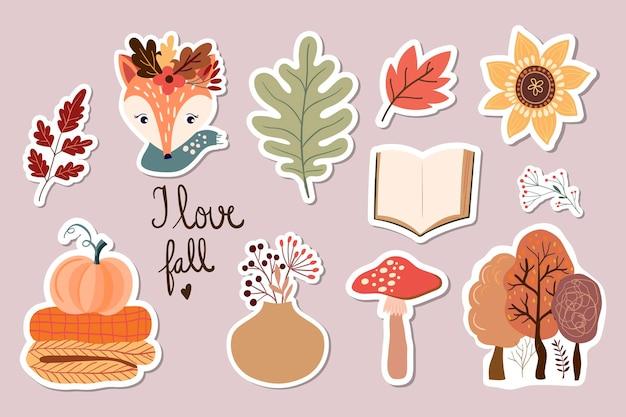 Kolekcja jesiennych naklejek na magnesy z uroczymi sezonowymi elementami lisa, grzyba i roślinami
