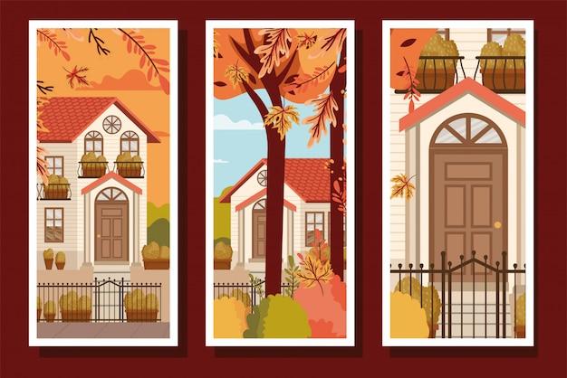Kolekcja jesiennych plakatów