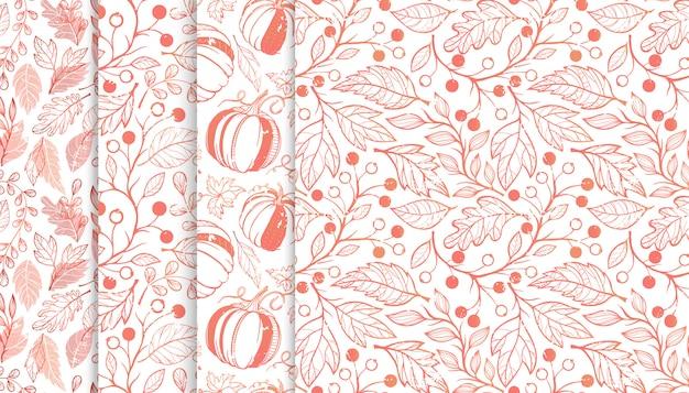 Kolekcja jesiennych wzorów z liśćmi, jagodami, dyniami i kwiatowymi elementami.