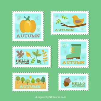 Kolekcja jesiennych znaczków w płaskiej konstrukcji