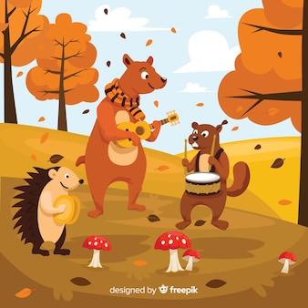 Kolekcja jesiennych zwierząt leśnych płaska konstrukcja