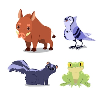 Kolekcja jesiennych zwierząt leśnych