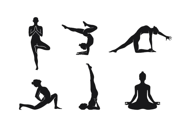 Kolekcja jogi pozuje ilustracja